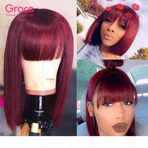 99J Bourgogne Bob perruque Pixie Cut court de cheveux humains Remy droit brésilien Glueless Perruques Avec Bangs Pour les femmes noires Vin rouge non avant de dentelle perruque