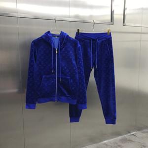 2020 Французская осень дизайнер зимней моды Velvet письмо роскошный спортивный костюм мужской высококачественный ветровка дышащего молния черный