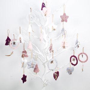 Set Árvore de Natal da estrela do coração do Natal Plush Pendant INS 5pcs projeto redondo suspensão do ornamento Feliz Natal Decoração