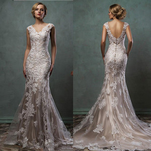 Real picture Champagne Wedding Dresses With Train Applique Sheer Skirt mermaid Wedding Dress 2020 new Plus Size Bridal Gowns