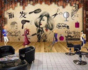 Custom size Modern thickening papel de parede 3d wallpaper hairdressing background barber shop nostalgic retro make-up