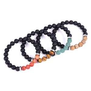 Black Lava stone Beaded Strand Essential Oil Diffuser Bracelet Stainless Spacer Matted Balance Buddha Yoga Friendships Jewelry for Women Men