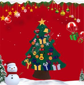 DIY Felt 3D Weihnachtsbaum Ornamente Kinder Spielzeug Weihnachten Tür-Wand-Aufkleber Poster Hänge mit abnehmbarem Zubehör Home Schmuck D91402