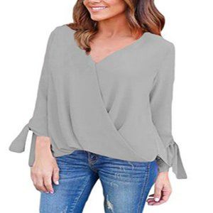 Hot Sale Chiffon Blouse Fashion Women Shirts Solid Color V Neck Long Sleeve Blouse Casual Women Tops Plus Size S-2XL Sexy Blusas