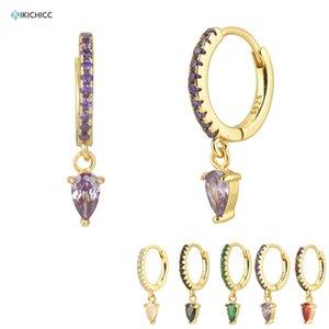 Kikichicc 925 Sterling Silver Purple Ovals Drop Earring Pendient Circle Luxury CZ Zircon Rock Punk Piercing Pendiente Earring 200923