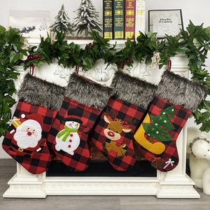 Plush Christmas Stocking Gift Bags Large Size Latticed Candy Bag Xams Tree Decoration Socks Ornament Christmas Gift Wrap RRA3636