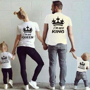 Mother kids T-shirt Boys Crown T Shirt Plus Size Mom Me Father Son Mother and Daughter Clothes Summer Matching Family Clothes