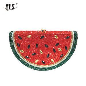 Sac de luxe en cristal rouge Fruit pastèque diamant perles soir Party Sacs à main d'embrayage bourse Femmes Mode mariage de