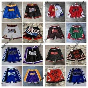 Erkek SADECE DON Allen Iverson Kings76ersŞort Jason Williams Basketbol Şort Dikişli Cep Astar Mesh Spor Pocket Sweatpants