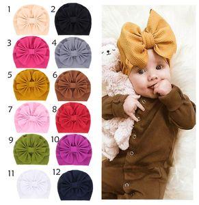 Kids Bowkot hats caps indians muslim baby beanie hats baby girls hair bows hat kids cotton bonnets infant turban twist hats