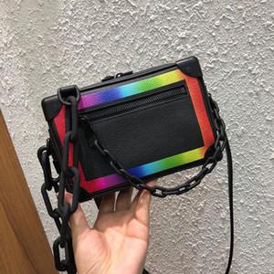 Clásico de la moda mini-bolsos de marca bolsos monederos modificación del arco iris suave cadena de paquete de la caja de bolsa de la cámara bolsa crossbody
