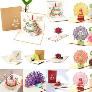 3D UP Cards Birthday Card for Girl Kids Wife Husband Birthday Cake Greeting Card Postcards Gifts with Envelope Stickers