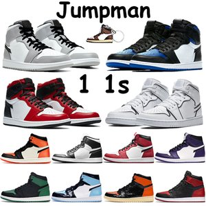 Jumpman 1 1S мужских ботинки баскетбола высокого атласа змей разрушена спинодержатель сосна зеленый разводил королевского чикаго схождение света дымковых мужчин кроссовки
