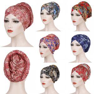 Шапочки / черепные колпачки мусульманские дамы напечатанные тюрбанские шляпы исламская баотоу арабская повседневная упаковка африканский химический праздник стиль головных уборов