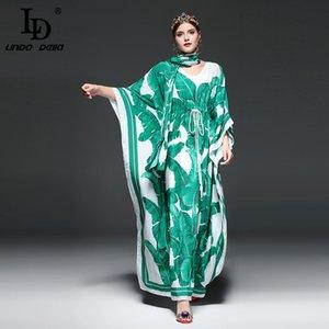 Yüksek Kaliteli Pist Moda Tasarımcısı Maxi Elbise Kadın Batwing Sleeve Green Palm Yaprak Çiçek Gevşek Casual Uzun Elbise LJ200911 yazdır