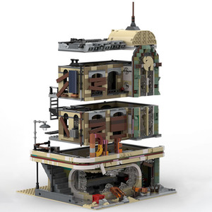 BuildMOC Street View-Serie Downtown Diner 40173 Im Lager Building Blocks Creator Bricks Modell LJ200925