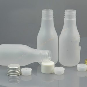 100ml clear frosted pear shaped PET bottle + white PP lid silver gold aluminum lid.oil liquid moisturizer facial water container