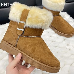Women Snow Boots Winter Shoes Ladies Warm Plush Buckle New Female Non Slip Casual Fashion Ankle Short Boots Woman Botas Mujer