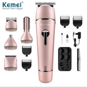 EPACK Nueva caliente Kemei 5 en 1 eléctrico recargable de las podadoras de pelo máquina de afeitar del condensador de ajuste de la nariz KM-1015 del pelo de las podadoras de petróleo cerca de mí