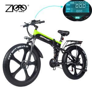ZPAO Fat bicicleta e bicicleta 1000W dobrados bicicletas elétricas eletrônicos Ciclismo Bicicleta Electrica Bicicletas adulto Montanha elétricos