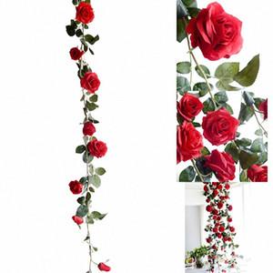 Fleurs artificielles fleurs en soie Rose Feuille de vigne Garland Ivy Accueil de fleur de mariage Jardin Halloween Noël Fleurs Deoration Ilfa #