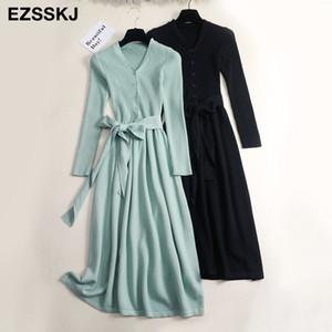 Las mujeres del vestido con cuello en V suéter maxi o invierno OL vestido de suéter largo femenino con un elegante cinturón de línea continua T200911 vestido delgado
