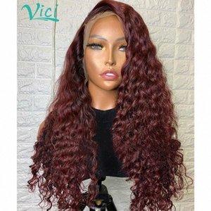 Bourgogne 360 Dentelle Frontal perruque brésilienne Remy Cheveux Rouge Lace Front Wigs Highlight bouclés perruque de cheveux humains pour les femmes 150% BSGA #