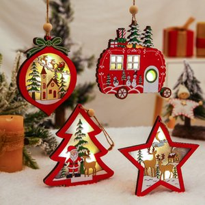 شجرة زينة عيد الميلاد الجوف قلادة الإبداعية خشبية الديكور مع ضوء عيد الميلاد الأسرة يشخص عيد الميلاد الحلي شحن مجاني