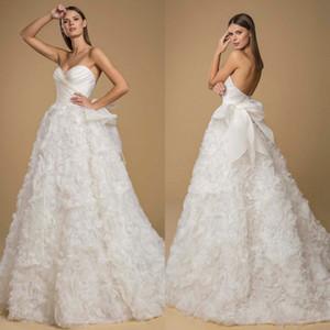 2020 Beach Wedding Dresses A Line Lace 3D Floral Appliqued Ruffles Sweetheart Boho Bridal Gowns Custom Made Luxury Vestido De Noiva