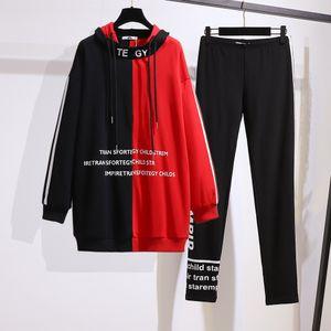 Artı Boyut Kadın Sonbahar Yeni Kadın 200 Triko Zayıflama Tozluklar Moda Casual Suit Boyut 2XL-6XL Eşleştirme Fat Kardeş Kapşonlu Renk Pounds