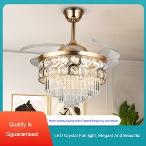 European-style Light Luxury Crystal Ceiling Fans Modern Home Modern Minimalist Invisible Fan Lamp Ceiling Fans with Lights