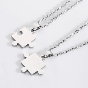 10pcs Stainless steel love couple necklace titanium steel lovers European and American puzzle unisex gift necklace jewelry