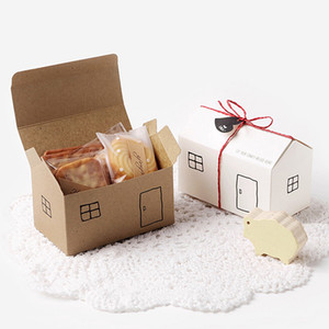 Included Paper Box House 20sets White Kraft Gift Favor Box Party Package Boxes Candy Wed Bag String Set Gift Tag T190709 Blsmg