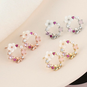 Korean New Colorful Rhinestone Pearl Drop Earrings for Women Charm Butterfly Flowers Shell Drop Earring Jewelry Gift Brincos