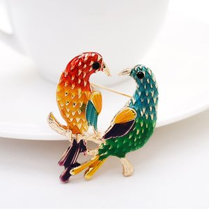 Color Painted Twin Mandarin Ducks Kingfisher Birds Design Brooches Pins Personality Statement Women Party Costume Jewelry 2020