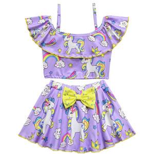 2019 Brand New Newborn Toddler Infant Child Kid Baby Girl Unicorn Swimwear Swimsuit Bikini 2Pcs Set Bathing Suit Costume 3-8T
