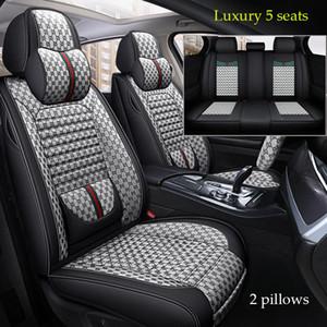 (Avant + arrière) 2020 Nouveau quatre saisons lin Confort universel de couverture de siège de voiture 5 places siège spécial de voiture PROTECT coussin pour Peugeot, DS, Audi,