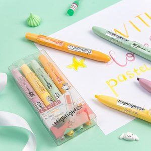 4 unids Morandi Colors Highlighter Pen Sett Chisel Tip Fluorescente Color Marker Liner Draw Drawing Office School Student F807