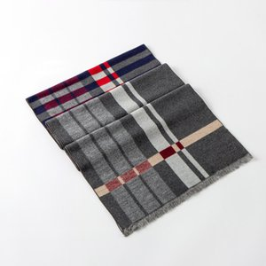Men's scarf warm autumn and winter wool shawl plaid color matching neckerchief European and American custom wholesale