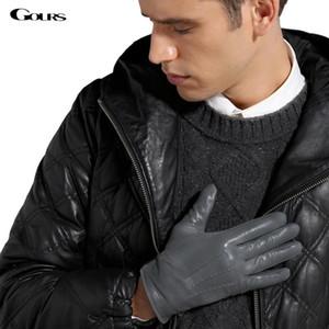cgjxs Gours inverno luvas de couro genuíno Homens novíssimo Preto Moda Luvas de condução Quente Goatskin Mittens Luvas Luvas Gsm015 Y200110