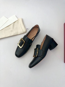 Light luxury classic pure original loafers high heel metal square buckle single shoes calfskin fashion shoes flat shoes
