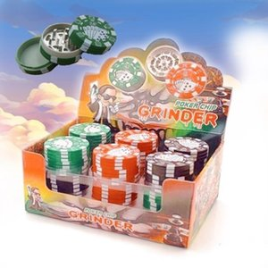 Poker Chip Herb Grinder 3 strati Poker Chip Stile herbal tabacco Grinder Grinders accessori di fumo del tubo gadget 3 colori GWE1729
