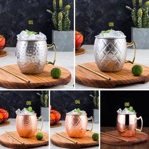 Cobre martelado banhado aço inoxidável Moscow Mule Caneca Drum-Tipo Beer Cup Coffe Cup água de vidro Copos DHF766