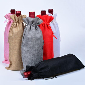 Burlap Wine Bottle Bags Champagne Wine Bottle Covers Gift Pouch Packaging Bag Wedding Party Festival Christmas Decor props 15*35cm HHA914