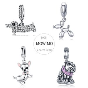 MOWIMO Animal Dog Charms 100% 925 Sterling Silver Doggy Beads Fit Original Silver Bracelets Pendant For Women Necklace Jewelry