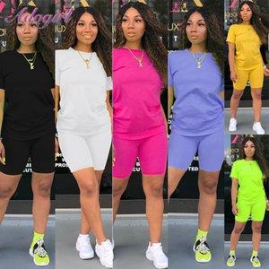 Women Tracksuit 2 Piece Set Solid Short Sleeve Crop Tops T-Shirt Short Pants Suit Matching Set Female Joggers Sportwear Fitness 200918