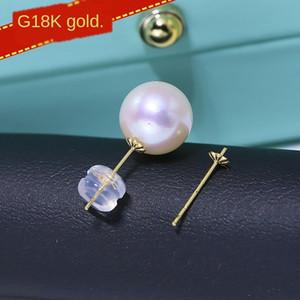 Dslvm DIY G18K Gold Ohrring leer Unterstützung AU750 feste Diy Ohrringe Zubehör Ohrringe Ohrring earplug Blumenplatte handgemachte Accessoires ma