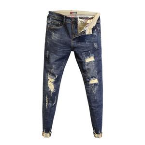 Atacado 2020 Moda nenhum passar calças borda baixa de lavar cintura pés magros primavera calças dos homens jeans rasgados comprimento buracos tornozelo