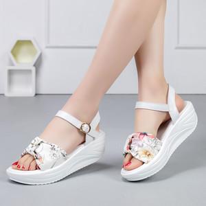 패션 캐주얼 여성 여름 웨지 신발 끈 꽃 경량 숙녀 샌들을 증가 통기성