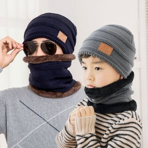 Parent-child hat scarf two piece winter keep warm knitted wool Beanies men Skull cap kid Plush thicken outdoor coldproof cycling